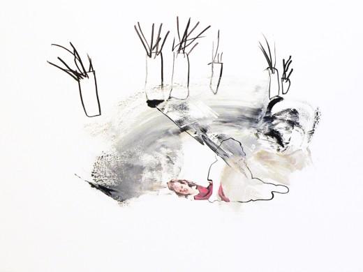 Kerek erdő / olaj, szén, vászon / 120*160 / 2010 /